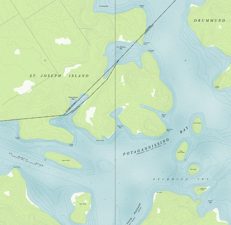 New map after decades of geographic and man-made changes to Potagannissing Bay