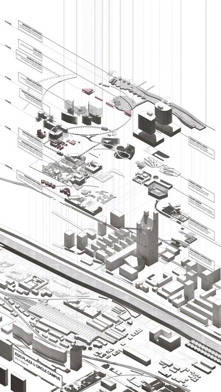 Site 2 Exploded Isometric: Rail Circle Campus & Egg Plaza