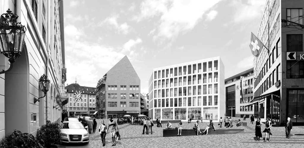 Blumenplatz - Showing the building and the public activity within the reactivated Blumenplatz.