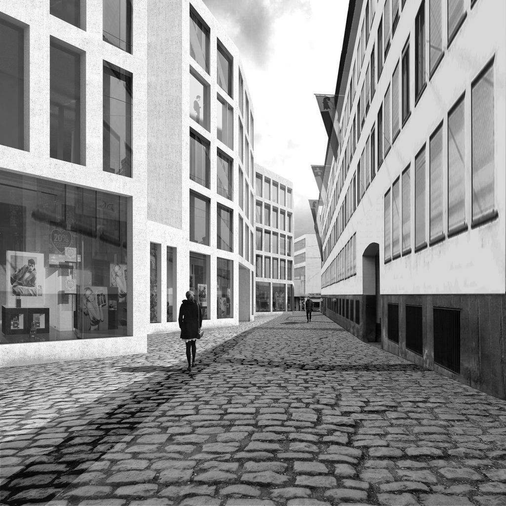 Street - A narrow public street shaped by the form of the building.