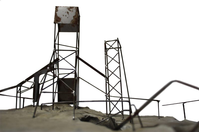 Close up of the sand mine. Materials: steel, rusting agent