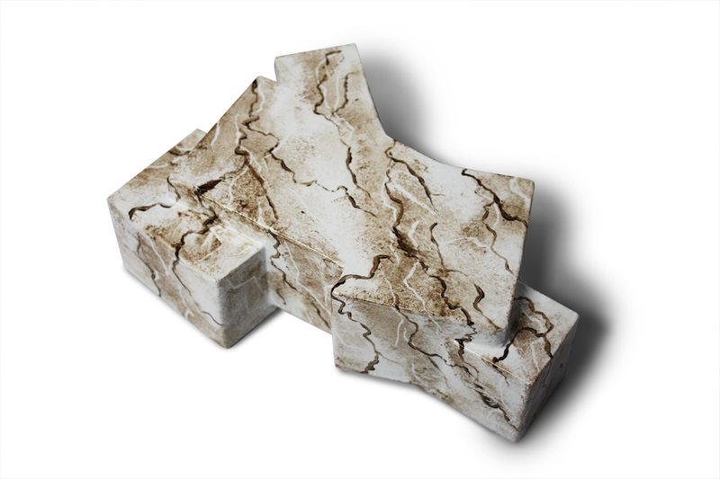 Physical model of History Museum. Believed to be solid block of marble, representative of traditional museum aesthetics. Materials: wood blocking, oil faux painting