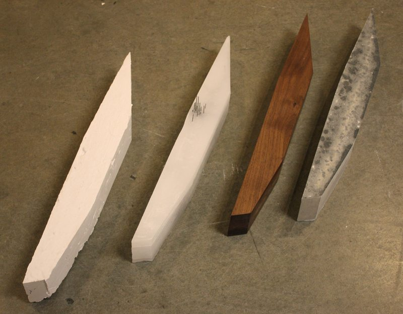 Material study of site extrusion. Multiple materials and methods of creation used as a way of competing authenticity of forms. Materials (left to right): plaster, cast wax and steel, oil-finished walnut, rockite