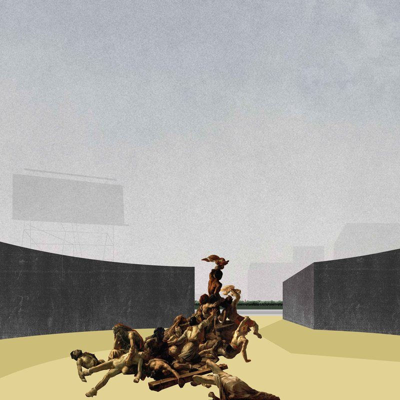 After Gericault, Digital, 2014. By placing together two unlike things (a fragment of Theodore Gericault's first major work, The Raft of the Medusa (1818-19) and indications of architecture) together in the same perspectival space, the effect of depth between the active foreground and less active background illustrates the actual and representational space between viewer and picture.