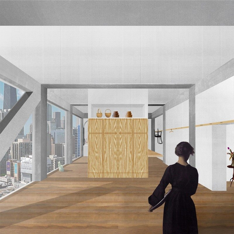Interior collage, Digital, 2014. The domestic interior is represented here as consisting of qualities found in the architecture of Mies v.d. Rohe and the Shakers. The space is organized by a grid delineated by a concrete structural frame. The austerity of Mies's interiors and the specificity of his material surfaces are compatible with the rituals and lifestyles of the Shakers—where they would hang objects on pegs and compress storage to simple volumes of casework. The commonalities offer a view of contemporary domesticity from historical understandings of space and forms of life.